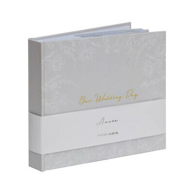 Grey White Floral ''Our Wedding Day'' Gold Titling Photo Album 4x6'' Picture 6x4