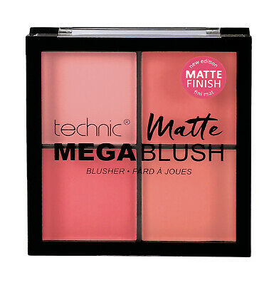 Technic Mega Blush Matte Quad Blusher Compact Palette Pink Peach Pressed Powder
