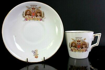 Antique Shelley China Coronation King George V Queen Mary Cup Saucer Circa 1911