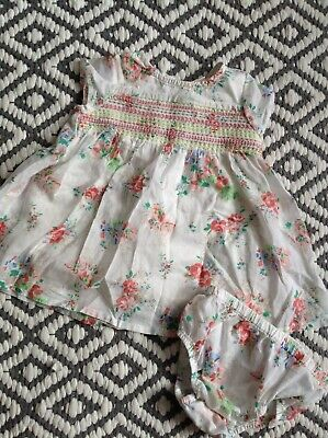 Next baby girls summer set dress & pants 0-3 mths