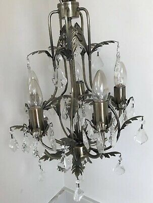 5 Arm Chandelier Antique Brass with Crystal / Glass drops, Vintage French style