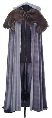 Medieval-SCA-Larp-Fantasy-Game of Thrones WINTERFELL GREY CLOAK WITH FUR CAPE