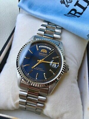 NIB! VERY RARE Orient President BLUE DIAL Datejust Homage Watch ALMOST GONE!