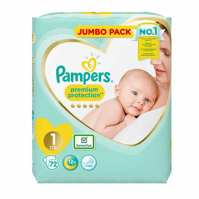 Pampers Nappies New Baby Size 1 Newborn, 72 nappies Jumbo Pack
