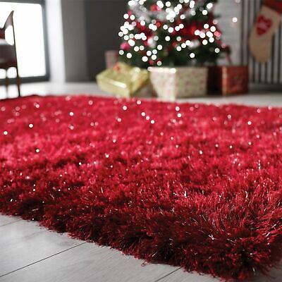 Dazzle Sparkle Shiny Super Soft Silky Thick Long Pile Modern Glitter Shaggy Rugs