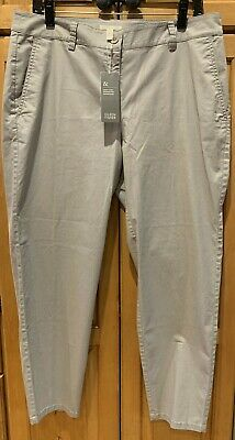NWT EILEEN FISHER Silver/Grey Stretch Organic Cotton Tencel Ankle Pants $168 PL