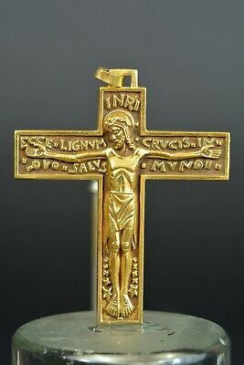 Modernist religious  gilded Bronze  pectoral cross crucifix signed Fernand Py