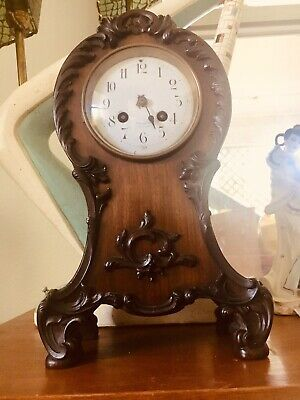 Signed /Date 1900 ART NOUVEAU Antique Mahogany Chiming Manchester French Clock