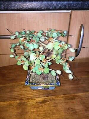 vintage miniature Chinese green leaves and coral bonsai type tree. Cloisonne pot