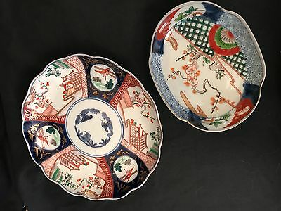 Set of 5 Porcelain Polychrome Decorated Signed Trays