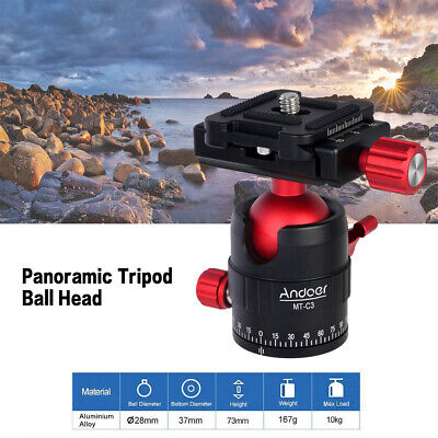 Andoer MT-C3 Compact Panoramic Tripod Ball Head Adapter 360° With QR Plate N2P2