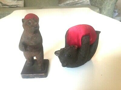 2 X Antique very nicely carved  Black Forest Bear Pin Cushions