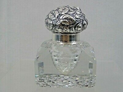 Gorham Repousse Sterling Silver Abp Cut Glass / Crystal Inkwell Paperweight 1887