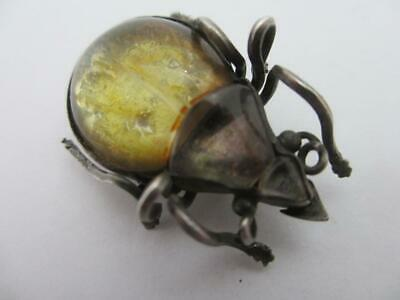 Bug Jelly Belly Rock Crystal Sterling Silver Brooch Antique Victorian. tbj07237