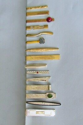 Lot of 15 Vintage Gold / Silver Art Deco Tie Clasps * Swank * More * Nice