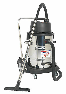 Sealey Pc477 Industrial Wet & Dry Vacuum Cleaner 77Ltr Stainless Drum 2400W/230V