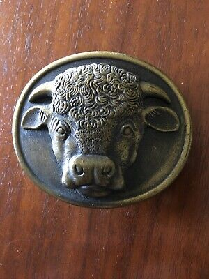 Malcolm Hereford Cows Cocktails Vintage 1975 Metal Belt Buckle Myers-Suzio