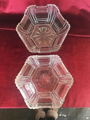 Pair Of Vintage Art Deco heavy pressed glass Trifle/fruit bowls 8""