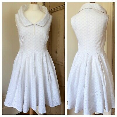 c2e4784340b Karen Millen White Broderie Anglaise Fit And Flare Summer Occasion Dress  Size 12