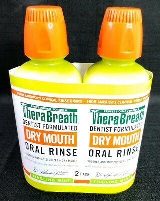 TheraBreath Dentist Formulated Dry Mouth Oral Rinse Tingling Mint 16 Oz 2 Bottle