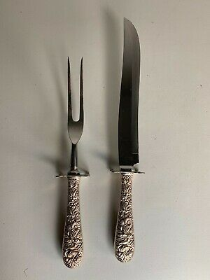 Antique S Kirk & Son Repousse Sterling Silver Carving Set