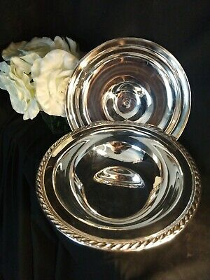 Wm Rogers Silverplate 4162 Round Serving Dish/Veg Bowl, Rope pattern