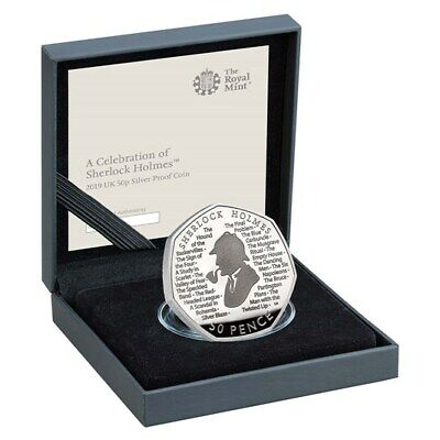 Royal Mint Sherlock Holmes 2019 UK 50p Silver Proof Limited Edition Coin NEW