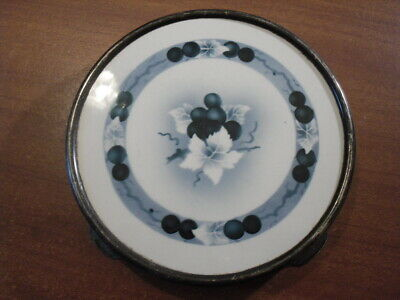 Vintage - Antique Framed Ceramic Round Tile - Trivet - Teapot Stand - Picture