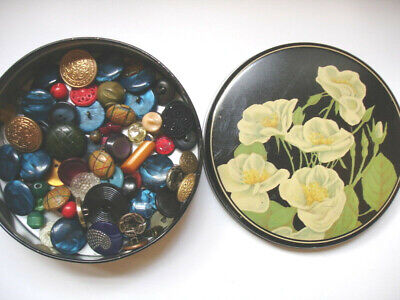 LOT Antique & Vintage Buttons Black Rose Tin Bakelite, Glass, Rhinestone, Wood +