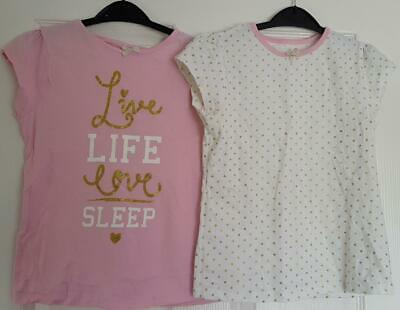 Gorgeous Girls 2 Piece Bundle,  Pink/White/Gold T Shirts From George 9-10 Yrs