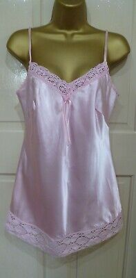 Vintage Style Morgan Beautiful Pink Slithery Liquid Satin Camisole Top Sz 12 New