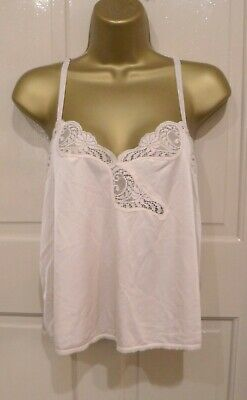 Vintage 70S Bhs Gorgeous Pink Silky Nylon Camisole Top Pretty Lace Size 12-14