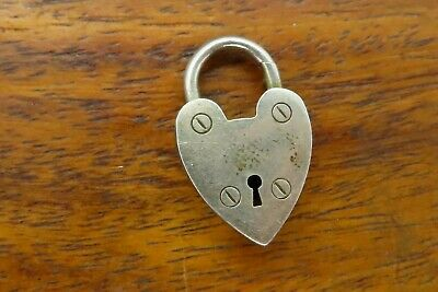.925 Sterling Silver HEART PADLOCK Pendant NEW Small Love Valentine 925 PW95