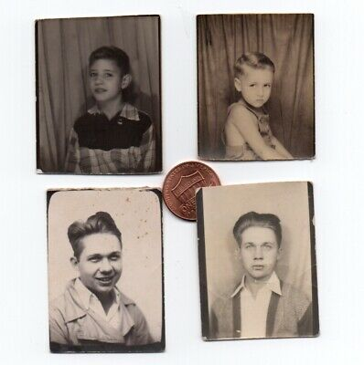 4 Vintage PHOTO BOOTH Snapshots BOYS YOUNG MEN ca.1930s-1950s Interesting Faces