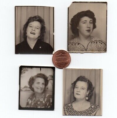4 Vintage PHOTO BOOTH Snapshots WOMEN ca.1930s-1950s Interesting Faces Stories?
