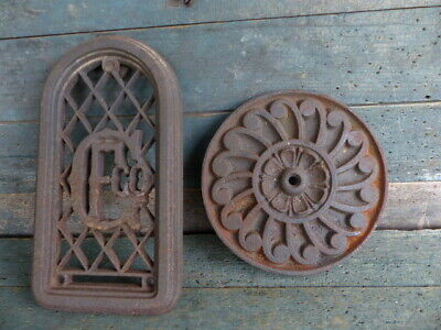 antique primitive ornate cast iron items steampunk rosette & window