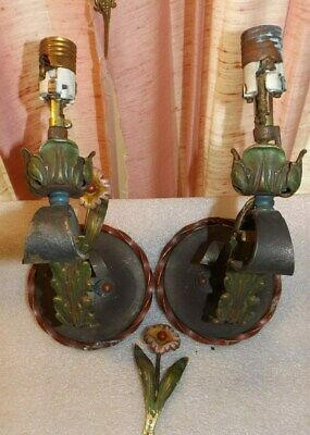 Vtg Polychromatic Pair Wall Sconce Lights 20's 30's