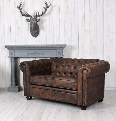 Chesterfield Canapé Simili-Cuir Antique Banquette Kaminsofa Wohnzimmercouch