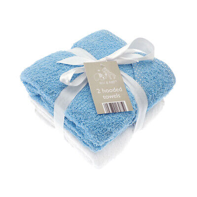 Elli & Raff 2 Pack Hooded Baby Towels, Blue and White New Born Bath Gift Set