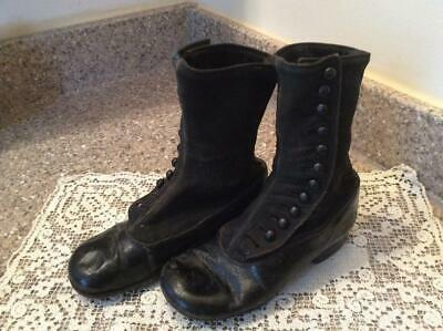 Vintage Antique Victorian High Button Leather & Fabric Child Shoes