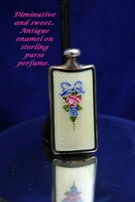 Antique Thomae Sterling Silver Enameled Guilloche Perfume Bottle Scent Flask