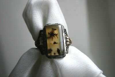 RARE Antique PICTURE AGATE Ring by OSTBY & BARTON ~Fascinating TITANIC History~