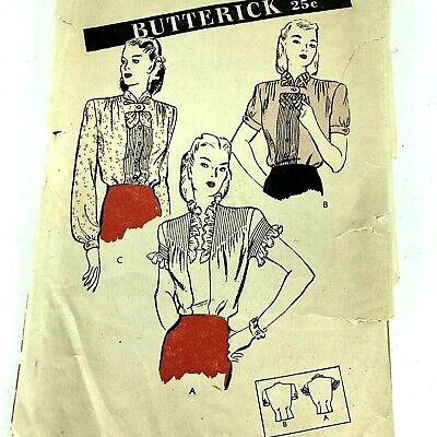 Vtg Sewing Pattern 1930s Butterick Unprinted Womens Blouse Compete Bust 30 PA286