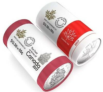 2017 Canada 150 Special Wrap Roll 50 Cents Coins Set of Two Designs