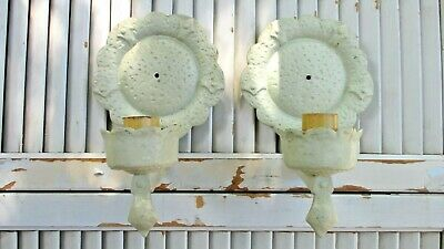 2 VTG Cast Iron Wall Mount Electric LIGHT FIXTURES Sconce FRENCH Cottage TUDOR