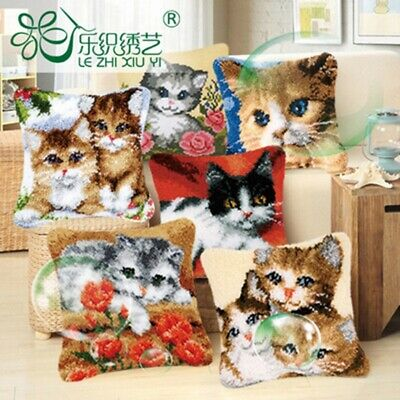 Animal Cat Cushion Cover Making kits Latch Hook Rug For Beginners Embroidery