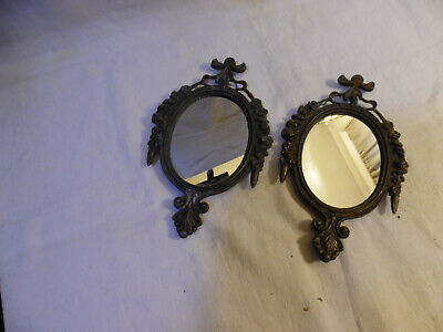 Old Pair Of Smaller Mirrors Metal Made In Italy