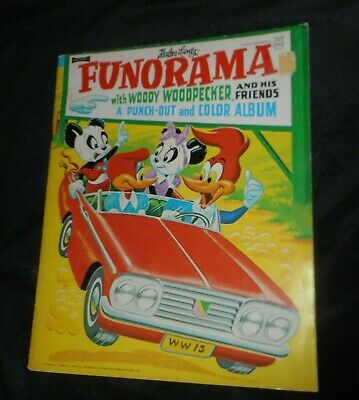 Vintage 1963 Woody Woodpecker & Friends Funorama Punch-Out & Color Album Book