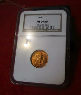1936 NGC MS 66 RD Red Lincoln Wheat Cent                             #MF-1323