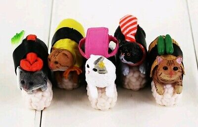 Set 5X Cats Sushi Lover Gift PVC Decorations Toy Collection